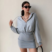 Dress Spring 2021 Gray, black, white S,M,L Short skirt singleton  Long sleeves street Hood High waist Solid color zipper raglan sleeve Others zipper eleven point one one Europe and America