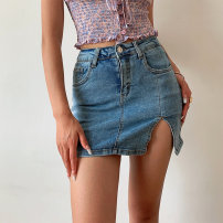 skirt Summer 2021 XS,S,M,L Light blue, black, gray Middle-skirt street High waist skirt Solid color Type H six point one zero 51% (inclusive) - 70% (inclusive) other Europe and America
