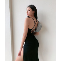 Dress Summer 2021 Black, Khaki S, M Mid length dress singleton  Sleeveless street other Solid color Socket camisole backless nine point two nine More than 95% cotton Europe and America