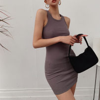 Dress Spring 2021 Black, gray, caramel, apricot S, M Short skirt singleton  Sleeveless street Crew neck High waist Solid color Others Type H One point six Europe and America