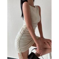 Dress Summer 2021 Off white , black , green , blue Average size Short skirt singleton  Sleeveless street Crew neck Solid color Socket A-line skirt straps Type A Tuck, lace up seven point one three 51% (inclusive) - 70% (inclusive) other Europe and America
