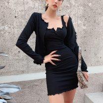 Dress Spring 2021 Black, light grey, dark grey S, M Short skirt Two piece set Long sleeves street V-neck High waist Solid color Europe and America