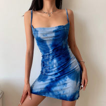 Dress Summer 2021 Blue tie dye S, M Short skirt singleton  Sleeveless street Dangling collar Socket A-line skirt camisole Type A Six point one 51% (inclusive) - 70% (inclusive) Europe and America