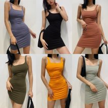 Dress Summer 2021 S,M,L Short skirt singleton  Sleeveless street square neck High waist Solid color three point two four Europe and America
