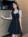 Dress Summer 2021 White sleeves, black sleeves S,M,L,XL,2XL Short skirt singleton  Short sleeve commute Crew neck High waist Solid color zipper A-line skirt 18-24 years old Type A Korean version Splicing