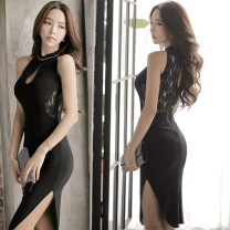 Dress Summer of 2018 black S,M,L,XL longuette singleton  Sleeveless commute stand collar middle-waisted Solid color Socket Irregular skirt routine Others 18-24 years old T-type Other / other Korean version Hollowed out, open back, Gouhua hollowed out, stitching, buttons, zippers, lace polyester fiber