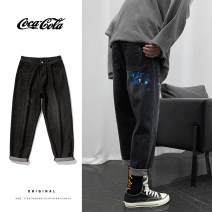 Jeans Youth fashion Others S,M,L,XL,2XL,3XL,4XL,XS N136 blue, n136 black routine No bullet Regular denim Ninth pants Other leisure Cotton 82% viscose (viscose) 11% new polyester 7% summer teenagers Medium high waist Haren pants Youthful vigor 2020 Little straight foot zipper washing Five bags cotton