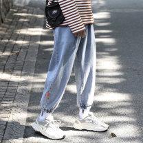 Jeans Youth fashion Others S. M, l, XL, 2XL, 3XL, 4XL, 5XL, XS plus small Black, blue Micro bomb Ninth pants Other leisure 2020