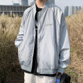 Jacket Other / other Youth fashion White, black, grey S. M, l, XL, 2XL, XS plus small routine easy Other leisure spring Long sleeves Wear out Baseball collar tide teenagers routine Zipper placket Rib hem No iron treatment Closing sleeve Solid color printing Side seam pocket polyester fiber
