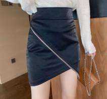skirt Autumn 2020 M,S,L,XL,2XL A-black-p82, l-black-d44, f-off white-e37, g-khaki-d27 Short skirt commute High waist A-line skirt Solid color Type A 18-24 years old Q57700 other Other / other other zipper Korean version
