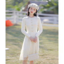 Dress Spring 2021 Apricot XS,S,M,L Mid length dress singleton  Long sleeves commute Crew neck High waist Solid color Socket A-line skirt routine Others 25-29 years old Type A Allyn tune / Arlene's literature Button More than 95% knitting other
