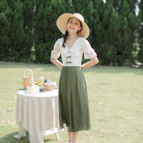 Dress Summer 2021 green XS,S,M,L longuette singleton  Short sleeve commute V-neck High waist Solid color Single breasted Big swing puff sleeve Others 18-24 years old Type A Allyn tune / Arlene's Retro Gouhua, hollow out, stitching, zipper, lace More than 95% other other
