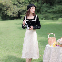 Dress Spring 2021 black XS,S,M,L longuette singleton  Long sleeves commute square neck High waist Solid color Socket Big swing routine Others 18-24 years old Type A Allyn tune / Arlene's Retro Panel, zipper 31% (inclusive) - 50% (inclusive) Flannel polyester fiber