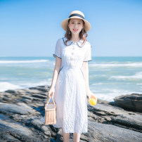 Dress Summer 2021 white XS,S,M,L longuette singleton  Short sleeve commute Doll Collar High waist Solid color zipper Big swing other Others 18-24 years old Type A Allyn tune / Arlene's Retro Auricularia auricula, zipper A0048 More than 95% other other