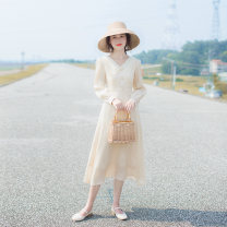 Dress Spring 2021 Sand apricot XS,S,M,L longuette singleton  Long sleeves commute Double collar High waist Solid color zipper Big swing routine Others 25-29 years old Type A Allyn tune / Arlene's Retro zipper QY2019082524 More than 95% other other