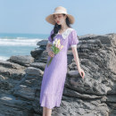 Dress Spring 2021 violet XS,S,M,L Mid length dress singleton  Short sleeve commute Doll Collar High waist Solid color Socket A-line skirt routine Others 18-24 years old Type A Allyn tune / Arlene's Retro Splicing More than 95% other polyester fiber
