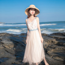 Dress Summer 2021 White flesh XS,S,M,L longuette singleton  Sleeveless commute V-neck High waist Solid color zipper Big swing routine camisole 18-24 years old Type A Allyn tune / Arlene's lady Mesh, zipper, lace A0059 More than 95% other other