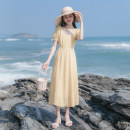 Dress Summer 2021 yellow XS,S,M,L longuette singleton  Short sleeve commute square neck High waist Solid color Socket A-line skirt puff sleeve Others 18-24 years old Type A Allyn tune / Arlene's Retro Button More than 95% other polyester fiber