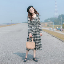 Dress Spring 2021 black XS,S,M,L longuette singleton  Long sleeves commute square neck High waist lattice zipper Big swing routine Others 25-29 years old Type A Allyn tune / Arlene's Retro More than 95% other other