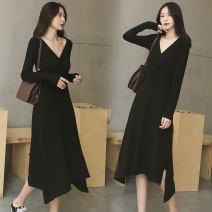 Dress Autumn 2020 black Xs, s, m, l, XL, 2XL, 3XL, customized longuette singleton  commute V-neck High waist Solid color Socket Irregular skirt routine 25-29 years old Type X Korean version cotton