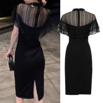 Women's large Summer 2020 black Large L, large XL, m, 2XL, 3XL, 4XL Dress singleton  commute Self cultivation moderate Socket Short sleeve Solid color Korean version Crew neck Medium length other Three dimensional cutting other 25-29 years old Lace stitching 51% (inclusive) - 70% (inclusive) other