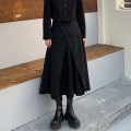 skirt Spring 2021 S,M,L,XL Black skirt longuette commute High waist A-line skirt Solid color Type A 18-24 years old Button Korean version