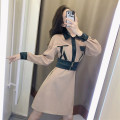 Dress Winter of 2019 Khaki dress S,M,L,XL Mid length dress singleton  Long sleeves commute Polo collar High waist Solid color other A-line skirt routine Others 18-24 years old Korean version other