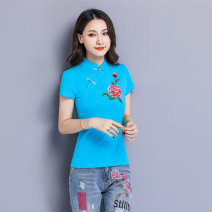 T-shirt M,L,XL,2XL,3XL,4XL,5XL,6XL Summer 2020 Short sleeve stand collar Self cultivation Regular routine commute cotton 96% and above ethnic style literature Plants and flowers, solid color Ingomandi Buttons, embroidery