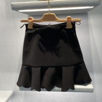 skirt Winter 2020 S,M,L,XL black Short skirt Versatile Solid color 30-34 years old