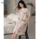 Nightdress A good companion D13032 M L XL XXL Sweet Short sleeve Leisure home Middle-skirt summer youth Small lapel Polyester (polyester) Button decoration More than 95% Iced silk D13032 Summer 2021 Polyester 96% polyurethane elastic fiber (spandex) 4% Pure e-commerce (online only)