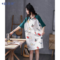 Nightdress A good companion D20m22100q byr5808 d22372 d22323 byr5804 byr5810 byr5802 byr5803 byr5811 byr5801 d22316 d22318 d22339 d22350 d22351 d22367 d20m22302 gray 1 2 3 4 5 6 8 9 10 M L XL XXL XXXL Sweet Short sleeve Leisure home Middle-skirt summer youth Crew neck cotton printing More than 95%