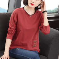 T-shirt Red, khaki grey M,L,XL,2XL,3XL,4XL Autumn 2020 Long sleeves Crew neck easy Regular routine commute cotton 86% (inclusive) -95% (inclusive) 40-49 years old Korean version originality Plants and flowers 246# pocket