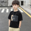 T-shirt black Qiaomi rabbit 120cm 130cm 140cm 150cm 160cm male summer Short sleeve Crew neck leisure time There are models in the real shooting nothing cotton printing Cotton 100% Class B Summer 2020 Chinese Mainland Guangdong Province