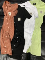 Dress Autumn 2020 Black, white, light green, army green, stripe color matching Six, eight, ten, twelve, fourteen Mid length dress Short sleeve street Polo collar Solid color zipper routine Others 91% (inclusive) - 95% (inclusive) brocade Sports & Leisure