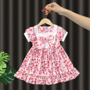 Dress Pink female Dada warwa 90cm 100cm 110cm 120cm 130cm Other 100% summer princess Short sleeve Broken flowers other A-line skirt other Summer 2021 3 months 12 months 6 months 9 months 18 months 2 years 3 years 4 years 5 years 6 years 7 years old