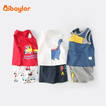 suit Qibaylor / qibaylor 73cm 80cm 90cm 100cm 110cm 120cm 130cm neutral summer Cartoon Sleeveless + pants 2 pieces Thin money No model Socket nothing Cartoon animation Pure cotton (100% cotton content) children Expression of love TZ0298 Class A Cotton 100% Spring 2021 Chinese Mainland