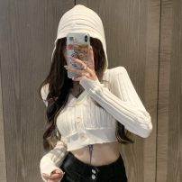 Wool knitwear Spring 2021 Average size white Long sleeves singleton  Cardigan other 30% and below have cash less than that is registered in the accounts commute Self cultivation Hood Korean version 18-24 years old