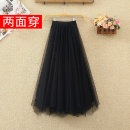 skirt Summer 2021 Average size Black, pink, apricot, blue longuette commute High waist Irregular Solid color Type A 18-24 years old Other / other Asymmetry, Sequin, mesh Korean version