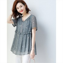 Women's large Summer 2020 Picture color Big XL, big XXL, big XXXXL, big XXXXL, big L, big M shirt singleton  commute easy moderate Socket Short sleeve Decor V-neck Medium length polyester fiber routine a3v Plain wood Lace stitching 81% (inclusive) - 90% (inclusive)