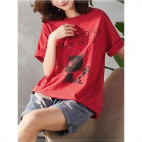 Women's large Summer 2021 Red, black, white Large XL, large XXL, large XXL, large XXXXL, large L, large M T-shirt singleton  commute easy moderate Socket Short sleeve Animal design Crew neck routine cotton Three dimensional cutting routine x9x Plain wood 35-39 years old