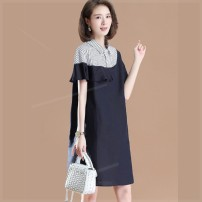 Women's large Summer 2020 dark blue Large XL, large XXL, large XXL, large XXXXL, large L, large M Dress singleton  commute easy moderate Socket Short sleeve Solid color Polo collar Polyester, cotton Three dimensional cutting routine r0u Plain wood 35-39 years old pocket Medium length