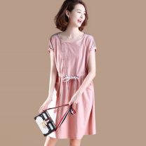 Dress Spring 2021 Pink M,L,XL,2XL,3XL,4XL,5XL Mid length dress singleton  Short sleeve commute Crew neck Loose waist other Socket A-line skirt routine 25-29 years old Type A Plain wood Korean version other