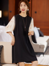 Dress Summer 2021 black M,L,XL,2XL Mid length dress singleton  elbow sleeve commute Crew neck Loose waist Socket other routine Others 25-29 years old Type A Clothing music Korean version 31% (inclusive) - 50% (inclusive) other other