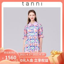 Dress Summer 2021 Decor 155/34 160/36 165/38 170/40 Middle-skirt singleton  Short sleeve commute Doll Collar middle-waisted Decor zipper other routine 25-29 years old Type X tanni printing TK11DR156B 51% (inclusive) - 70% (inclusive) Chiffon cotton