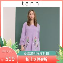 Wool knitwear Spring of 2019 M/38 Purple PE Long sleeves singleton  Socket Viscose 51% (inclusive) - 70% (inclusive) Medium length Thin money commute Straight cylinder Low crew neck routine Plants and flowers Socket Retro TI11KN031A 25-29 years old tanni jacquard weave