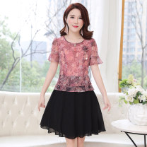 Dress Summer 2020 L,XL,2XL,3XL,4XL,5XL Mid length dress Fake two pieces Short sleeve commute Crew neck middle-waisted Decor other A-line skirt routine Others 30-34 years old Type A Korean version 71% (inclusive) - 80% (inclusive) other polyester fiber