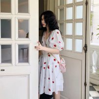Dress Summer 2021 white S,M,L,XL Mid length dress Two piece set Short sleeve V-neck High waist other Socket A-line skirt bishop sleeve Others 18-24 years old Type A 91% (inclusive) - 95% (inclusive) polyester fiber