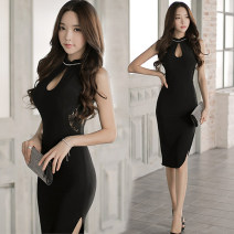 Dress Summer of 2018 black S,M,L,XL singleton  commute Crew neck High waist Solid color zipper Irregular skirt other Others 25-29 years old Korean version other polyester fiber