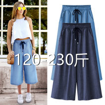 Casual pants Seven points in dark blue (collect baby first delivery), seven points in light blue (collect baby first delivery), nine points in dark blue (collect baby first delivery), nine points in light blue (collect baby first delivery) Spring 2021 Ninth pants Wide leg pants Natural waist street
