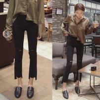 Women's large Summer 2020 Hole money, no hole money Large XL, large XXL, large XXXL, large XXXXL, large L, collection and purchase, priority delivery Jeans singleton  commute easy moderate Solid color Korean version Denim Hand abrasion Other / other 18-24 years old hole Ninth pants
